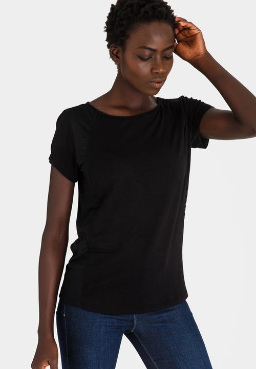 00720303fa4 Woven and Knit Combo Tee Black edit T-Shirts, Vests & Camis ...