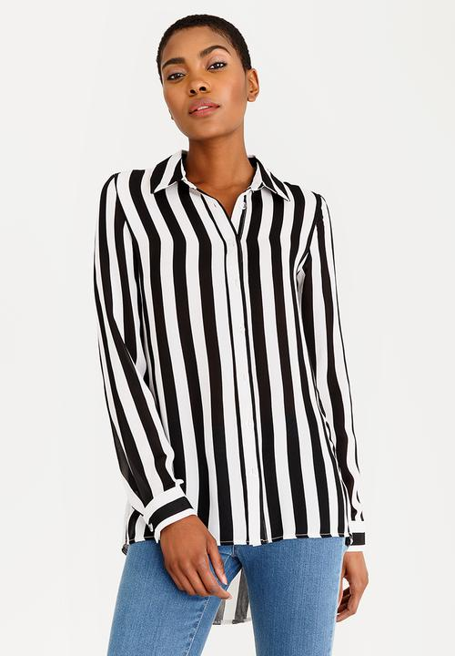 4ebcf0de25f88b Long Sleeve Button Down Blouse Black and White edit Blouses ...