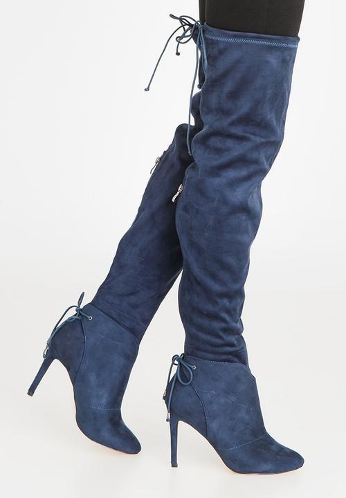 46a6717d196 Belle Thigh High Boots Navy Miss Black Boots