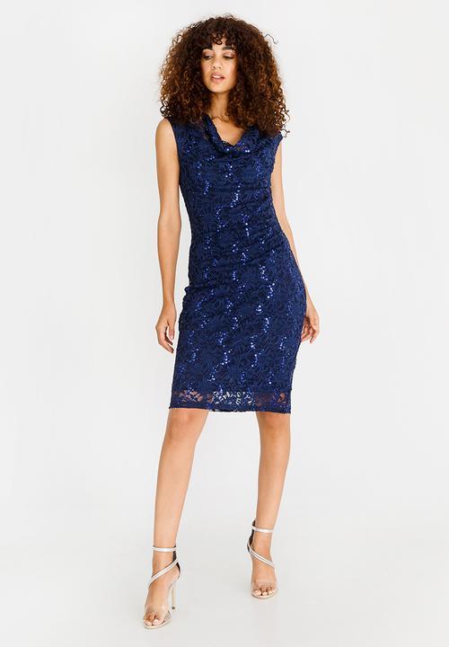 51777f4397f3b Lace Detail Midi Dress Navy Revenge Formal