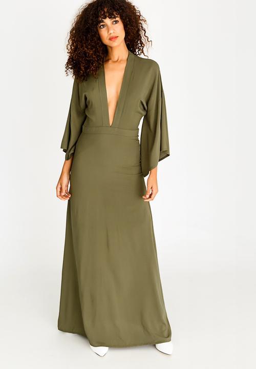 41243b178ddd Bell Sleeve Maxi Dress Khaki Green STYLE REPUBLIC Formal ...