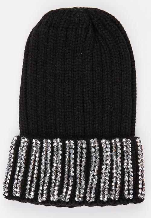 11e8cd36af4a3 Ribbed Sequin Beanie Black STYLE REPUBLIC Headwear