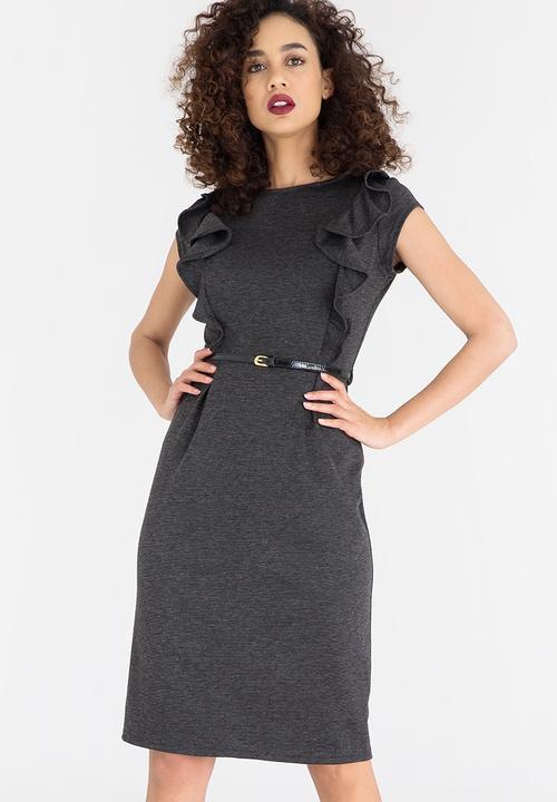 4aac9d1105 Cap Sleeve Pencil Dress with Belt Charcoal edit Formal
