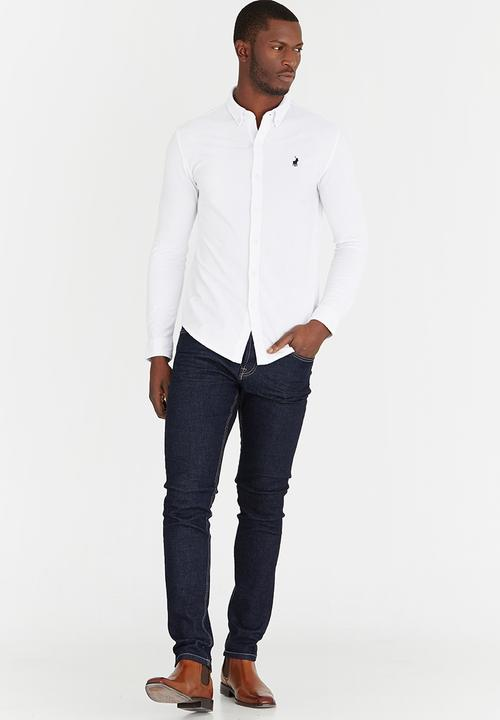 Mens Classic Long Sleeve Golf Shirt White POLO Formal Shirts ... 83039339cfb