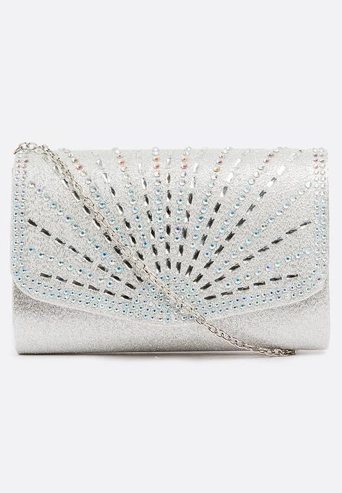 043204954 Natalia Shimmer Clutch Bag Silver Miss Black Bags & Purses ...