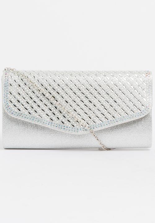 613c15fa4 Helen Shimmer Clutch Bag Silver Miss Black Bags & Purses ...