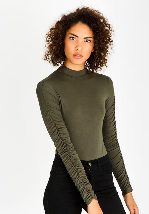 4758af8f Ruched Sleeve Bodysuit Dark Green c(inch) T-Shirts, Vests & Camis ...