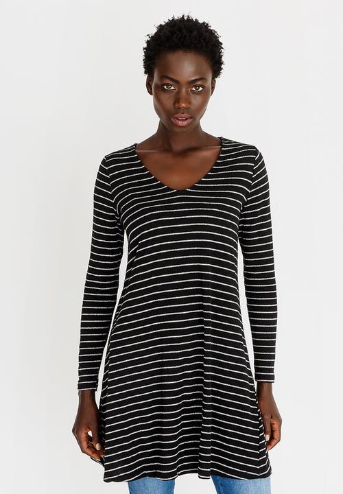 603fdd17a13 Long Sleeve Stripe Tunic Dress Black and White edit On Sale ...