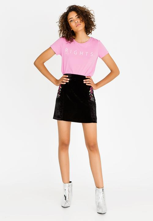 045a6d480d246d Velvet Skirt with Embroidery Black Brave Soul Skirts | Superbalist.com