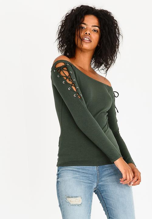 9df5a304370 Guess Katrina Off Shoulder Top Dark Green GUESS T-Shirts, Vests ...