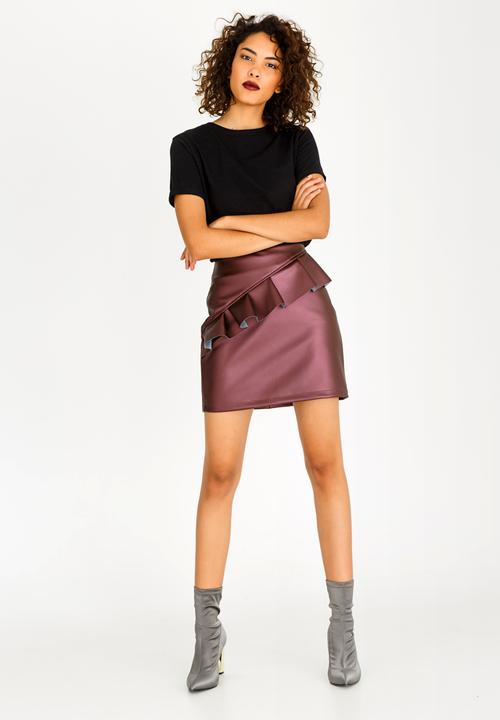 Leather Like Frill Mini Skirt Burgundy Style Republic Skirts