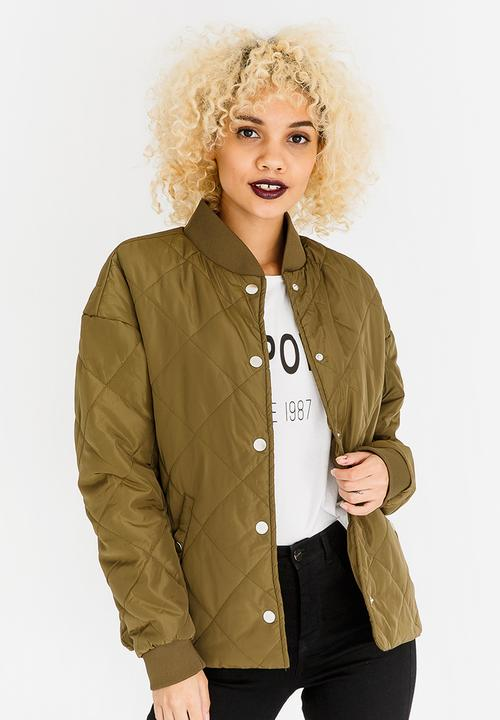 Oversized Quilted Bomber Jacket Khaki Green Cinch Jackets