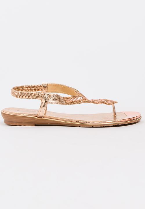 b57e45b800de17 Keating Beaded Sandals Rose gold Miss Black Sandals   Flip Flops ...