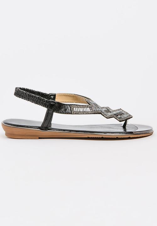 e4ff720f9dce49 Keating Beaded Sandals Black Miss Black Sandals   Flip Flops ...