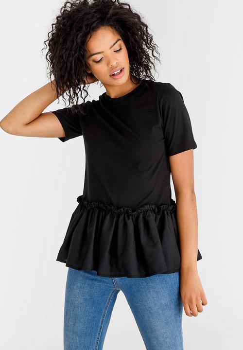 7e1c6c21 Frill Hem T-shirt Black STYLE REPUBLIC T-Shirts, Vests & Camis ...