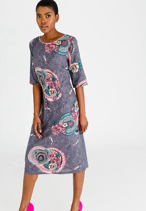 042af5f6ba1 3 4 Sleeve Printed Midi Dress Pale Pink Cheryl Arthur Casual ...