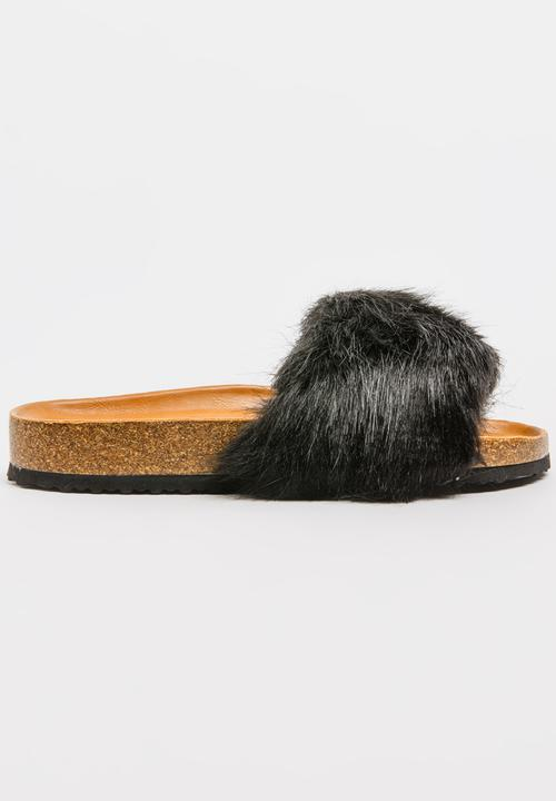6d2701bae53d Isla Faux Fur Slides Black Footwork Sandals   Flip Flops ...