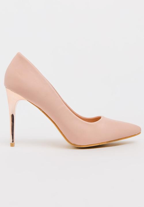 Metal Stiletto Heels Pale Pink STYLE