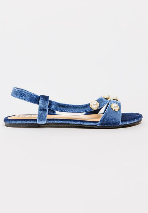 Pearl Detail Sandals Blue Footwork Sandals   Flip Flops ...