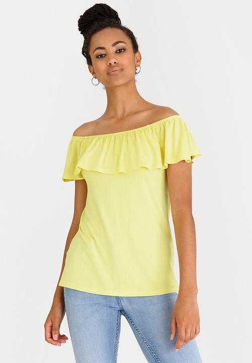 afbacbfdd380 Bardot Top with Frills Yellow edit T-Shirts, Vests & Camis ...