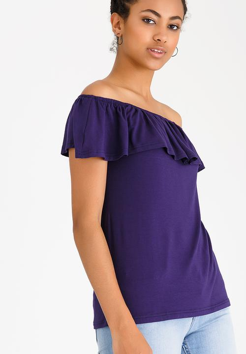 8cef87e0597 Bardot Top with Frills Navy edit T-Shirts, Vests & Camis ...