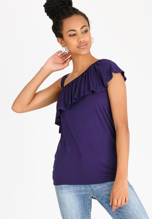 fe45d6beb64 One Shoulder Frilly Top Navy edit T-Shirts, Vests & Camis ...