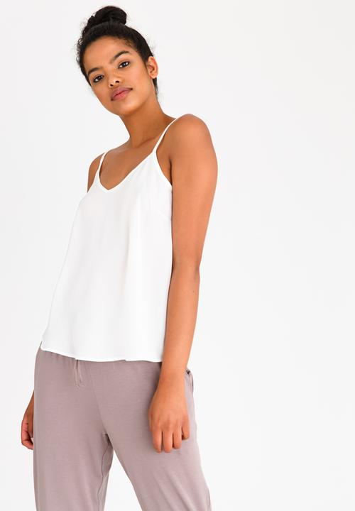 ab7aef810bfb79 Strappy Top with Adjustable Straps White edit T-Shirts