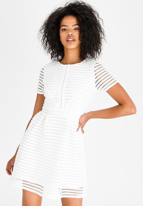02a4f1b9a293 Short Sleeve Skater Dress White Revenge Formal