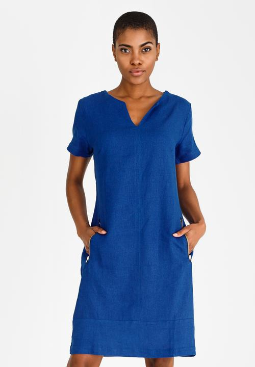 fdce20a9afc Shift Linen Blend Dress Cobalt edit Formal
