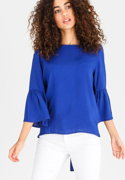 01ad412f98f5f5 Bell Sleeve Blouse with Tie Back Detail Cobalt edit Blouses ...