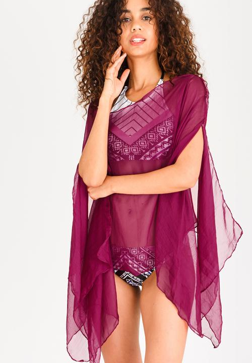 60d69cbd2e Sheer Swim Cover-up Burgundy Lithe Kaftans   Cover Ups