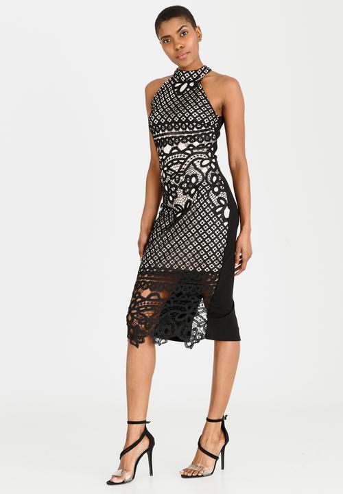 bb3870d62345f9 Crochet Lace Overlay Bodycon Midi Dress Black London Hub Formal ...