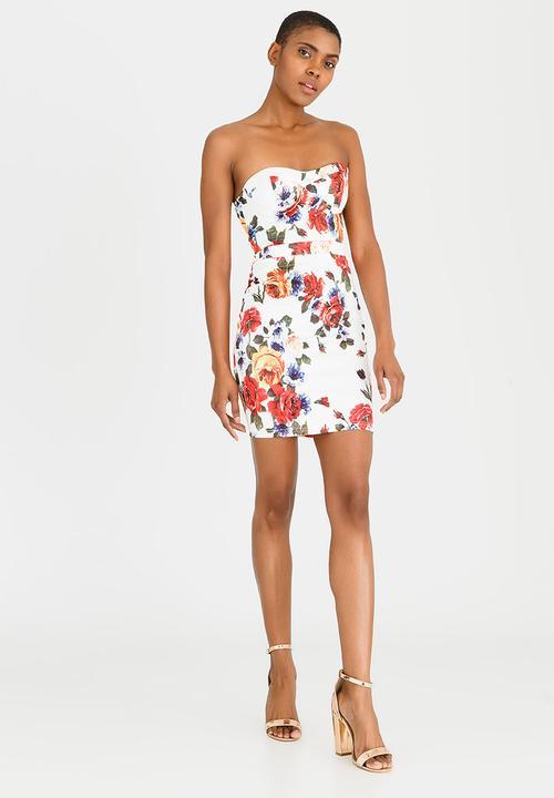 6990d3d2553 Flower Printed Strapless Bodycon Dress White London Hub Formal ...
