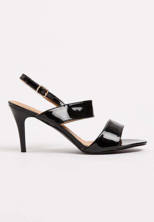 Laser-cut Detail Slingbacks Black Sarah J Heels