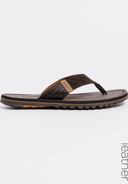 4866ea708 Stream Leather Sandals Dark Brown Bronx Sandals   Flip Flops ...