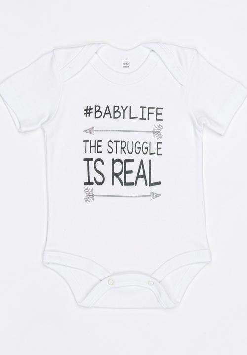 be6e748dcea22 Slogan Baby Grow White Funky Shop Babygrows & Sleepsuits ...