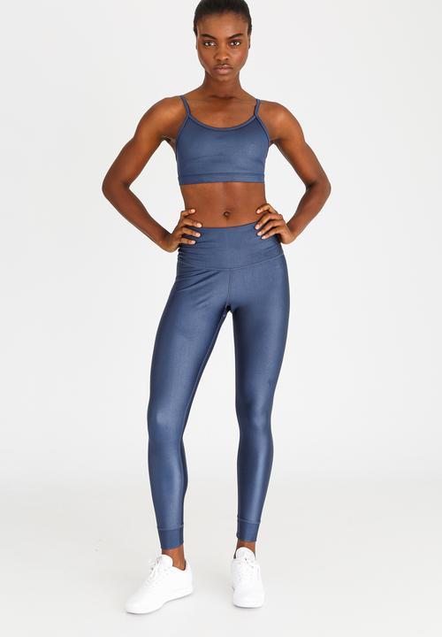 9f6eef31484cfe Training Metallic High-Rise Leggings Dark Blue Reebok Bottoms ...