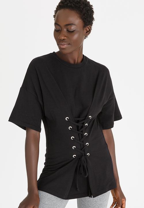 e563d92e88ca Lace-Up Corset Tee Black c(inch) T-Shirts, Vests & Camis ...
