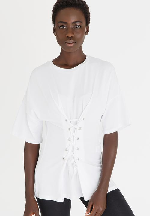 56af79ab8820 Lace-Up Corset Tee White c(inch) T-Shirts, Vests & Camis ...