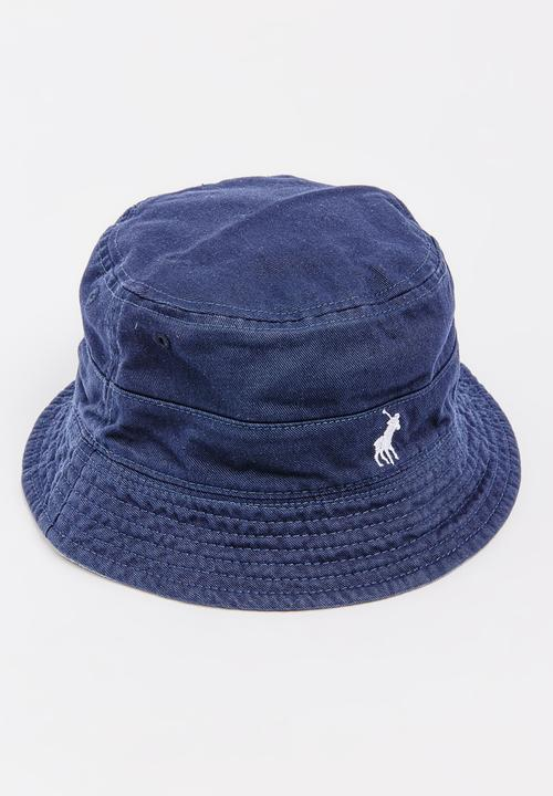 bdedb39a5b6 Toby Floral Washed Reversible Bucket Hat Mid Blue Polo Jeans Co ...