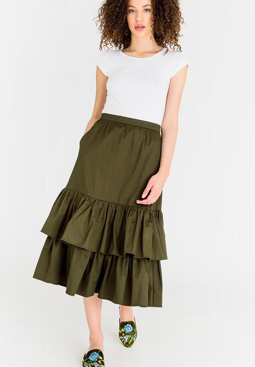 0b3156600445 Frill Midi Skirt Dark Green STYLE REPUBLIC Skirts | Superbalist.com