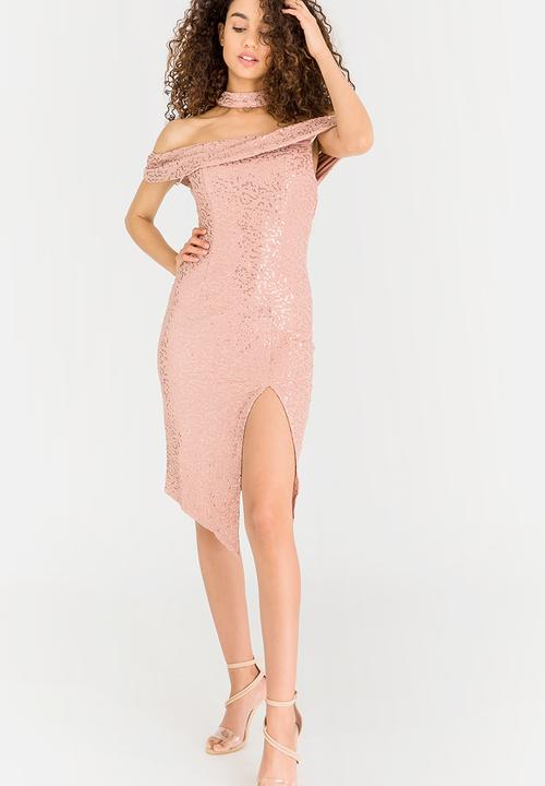 6e69948cc5d Shimmer Cocktail Dress Pale Pink Revenge Occasion
