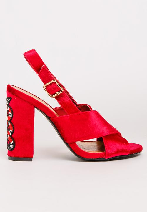 72ea4ad4556 Candice Embroidered Heels Red