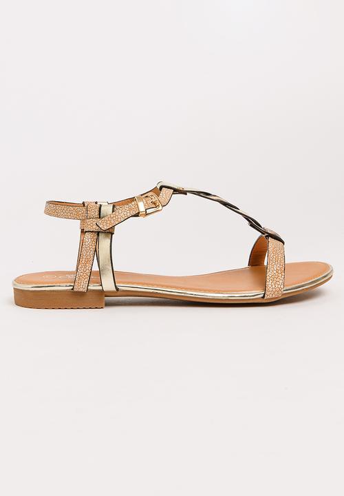 5763bcebf56a Prow T-bar Sandals Rose gold Miss Black Sandals   Flip Flops ...