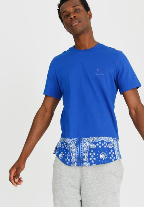 F Bandana Print Tee Mid Blue Reebok Classic T-Shirts   Vests ... 1a292810a