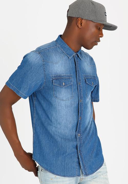 adf2a9404f Western Slim Denim Shirt Blue GUESS Shirts