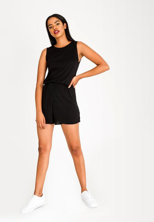2388dcb063b Frilled Sleeve Playsuit Black Brave Soul Casual