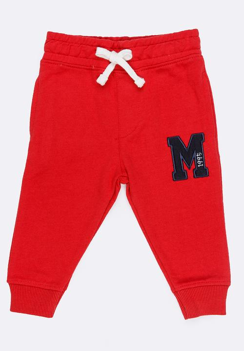 Basic Printed Joggers Red