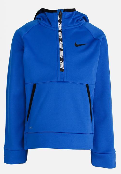 2d3cfcde3121 Nike Therma Half Zip Hoodie Blue Nike Jackets   Knitwear ...
