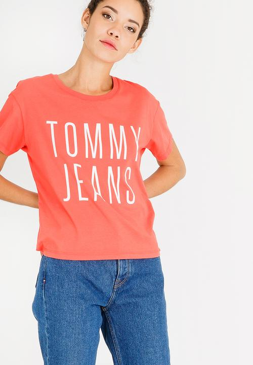 27843beb Cropped Logo Tee Peach Tommy Hilfiger T-Shirts, Vests & Camis ...